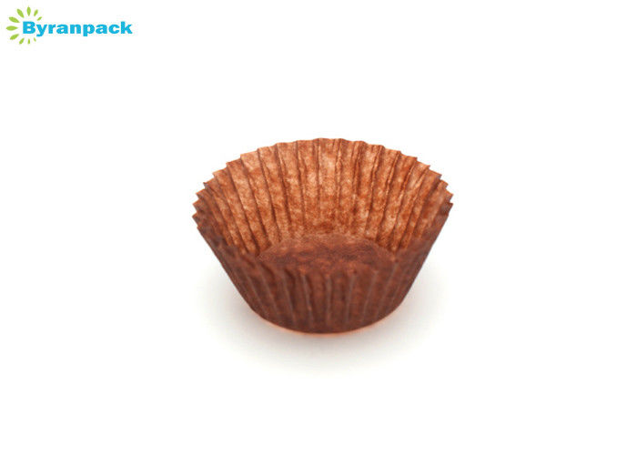 Round Brown Dark Brown Cupcake Liners , Fancy Small Cupcake Paper Cups