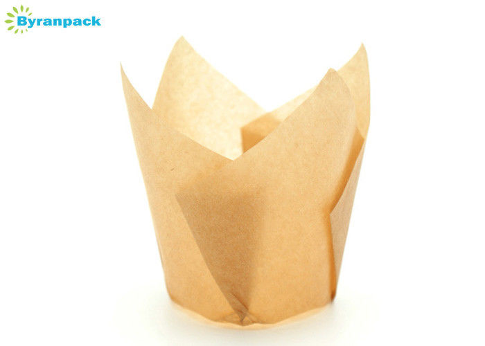 Greaseproof Paper Tulip Muffin Baking Cups For Homing Bakery 150*150mm