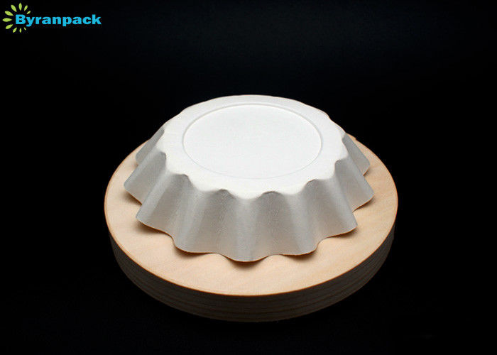 Ripple Wall Round Muffin Paper Liners , White Cupcake Papers Detached Easily