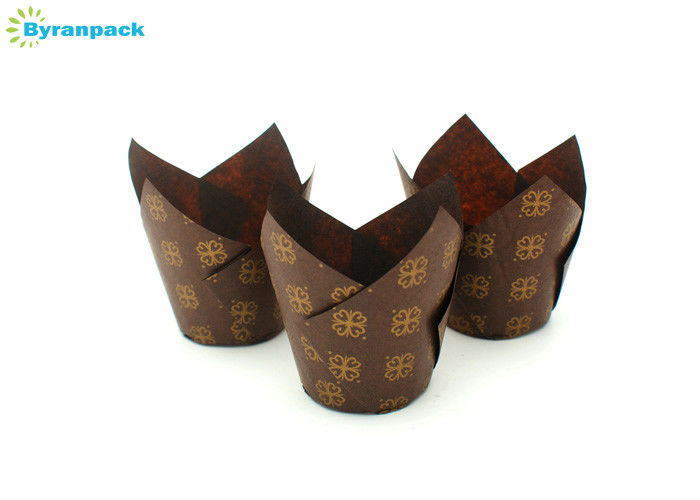 Flower Printed Brown Tulip Cupcake Cups / Muffin Paper Baking Cups 50mm Bottom