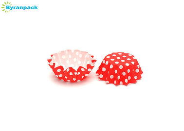 China Personalized Red And White Polka Dot Cupcake Liners Custom Multiple Size factory
