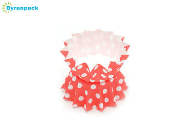 Colored Red And White Polka Dot Cupcake Wrappers , Baking Cupcake Paper Cups