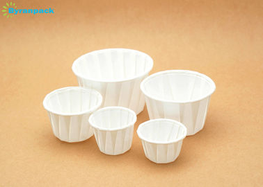 Food Grade Pure White Pleated Baking Souffle Cups Portion Cup With Wood Virgin Pulp Paper