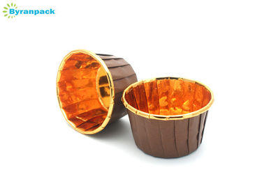 China Greaseproof Brown Pleated Baking Cups With PET Coated Paper 50*40mm factory
