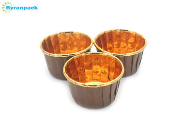 China Rolled Rim Brown Cupcake Cups / Greaseproof Muffin Pleated Cupcake Liners factory