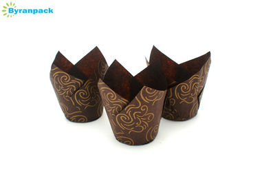 China Food Grade Brown Tulip Baking Cups Greaseproof Golden Pattern Printed factory
