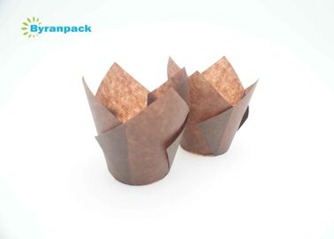 Brown Food Grade Muffin Baking Cups Greaseproof Heat Resistance Tulip Muffin Cases